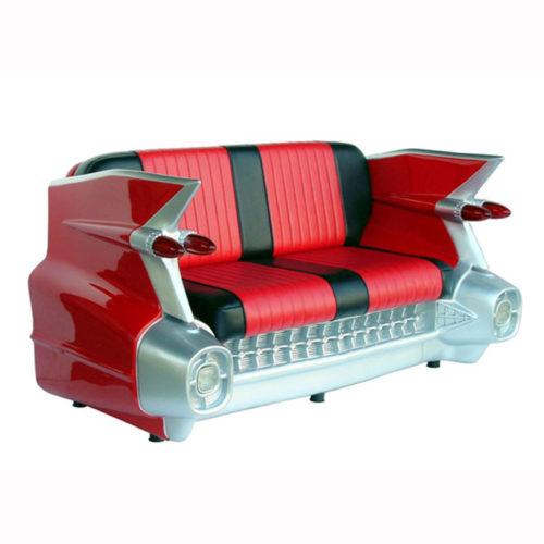 2021-R Sofa Cadillac rouge noir