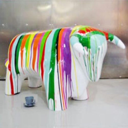 Taureau-design-GM-trash-blanc-nlcdeco animaux en résine (2)