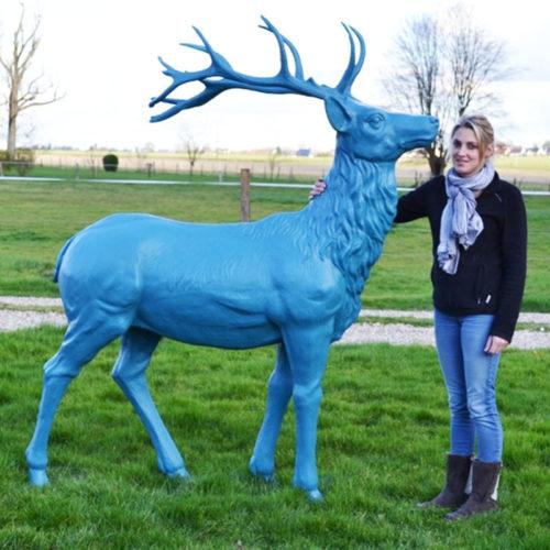 Cerf bleu animaux en résine nlcdeco