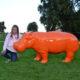 Hippopotame-orange-nlcdeco décoration en résine animaux design