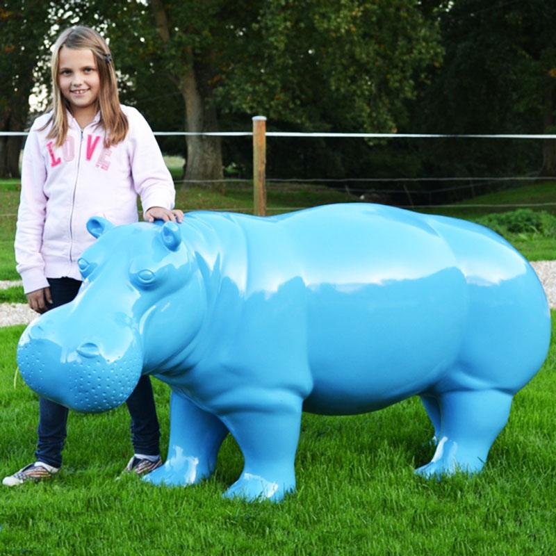 Hippopotame-bleu-nlcdeco animaux decoration en résine
