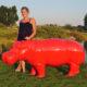 Hippopotame-rouge nlcdeco animaux en résine décoration