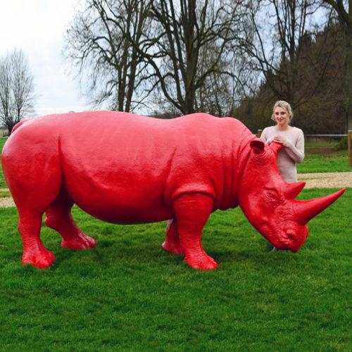 Rhinocéros-rouge animaux en résine nlcdeco