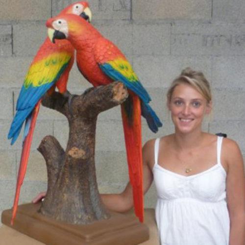 Ara-rouge perroquet resine nlc deco déco animaux déco