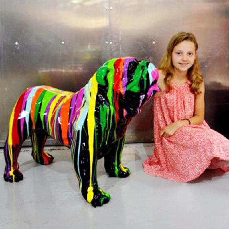 Bouledogue-debout chien en résine nlcdeco decoration plastique animaux (1)