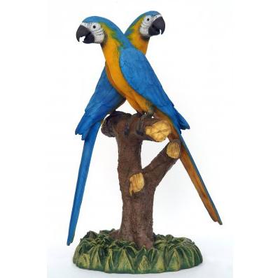 Couple de perroquets bleu jaune