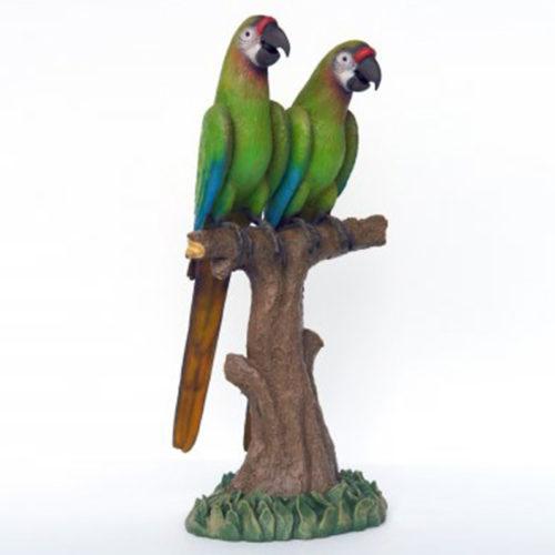Couple-de-perroquets-vert nlcdeco déco animaux en résine décoration