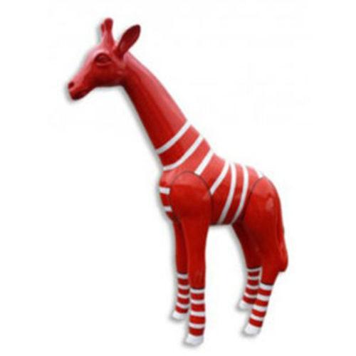 Girafe-PM-blanc-marinière-rouge-nlcdeco animaux en résine