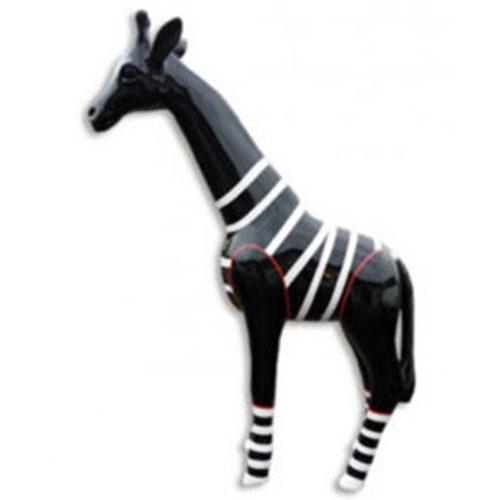 Girafe-PM-noir-marinière-blanc-nlc deco décoration en résine