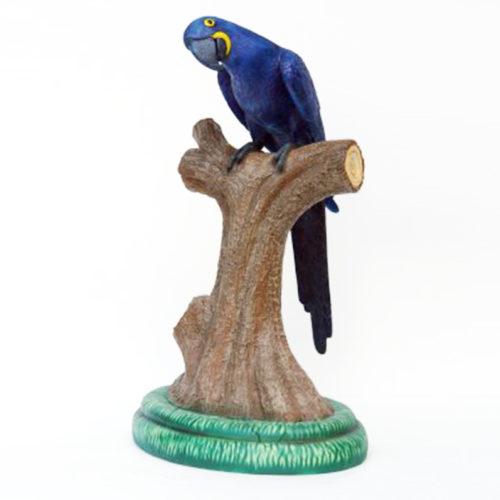 Perroquet-sur-perchoir-bleu Perroquet-sur-perchoir-bleu-jaune animaux en résine nlcdeco déco
