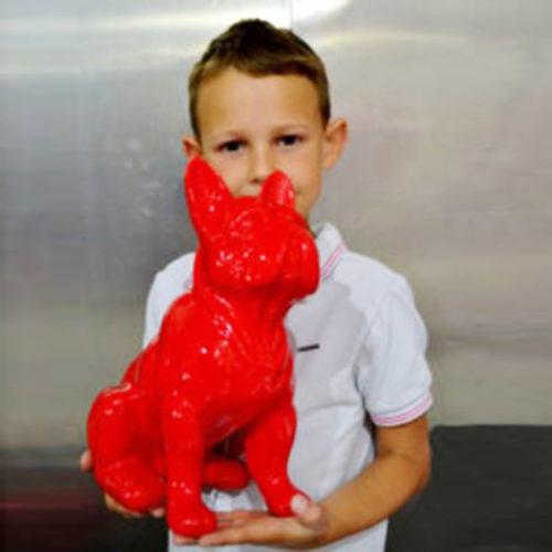 Petit-chien-assis-rouge-nlcdeco decoration animaux