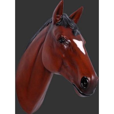 Trophée Cheval marron résine