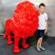 lion debout rouge en resine nlcdeco animaux personnage décor en résine
