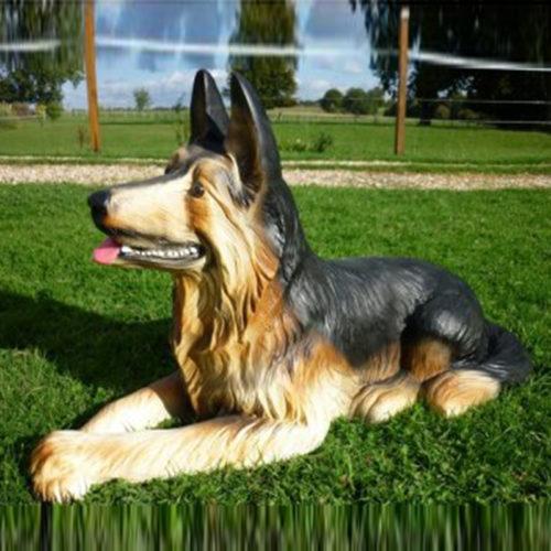 Berger-allemand-couché nlc deco déco chien resine