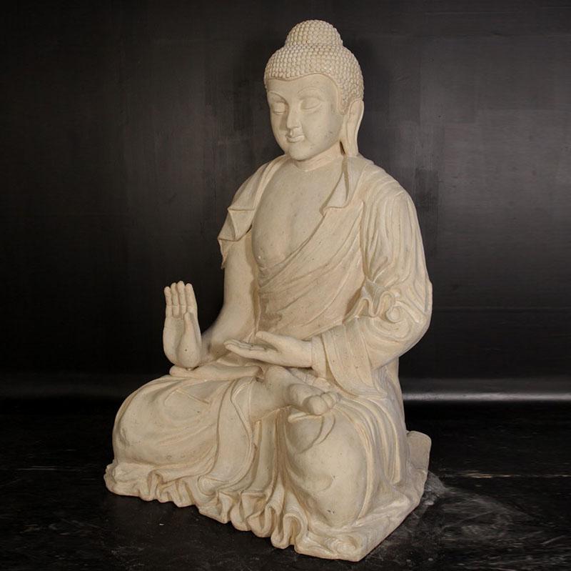 Bouddha géant pierre blanche nlc deco
