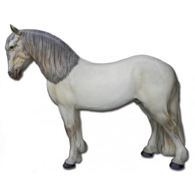 Cheval de trait blanc resine