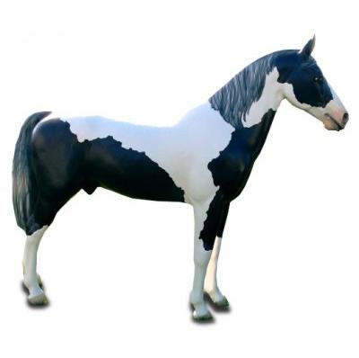 Cheval grandeur nature noir blanc