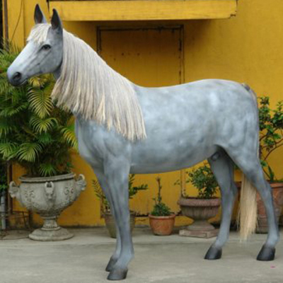 Cheval-gris-resine taille relle animaux en resine nlcdeco