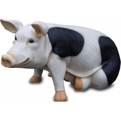 Cochon assis GM noir et blanc