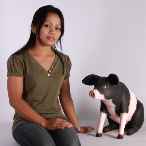 Cochon assis PM noir et rose NLC DECO