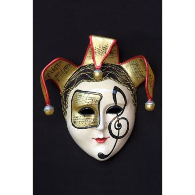 Masque vénitien rond note musique