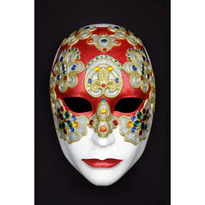 Masque vénitien rond rouge