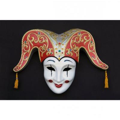 Masque v nitien rouge et or d corations statues et - Masque venitien decoration ...