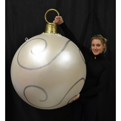 Boule géante Noël blanc / argent