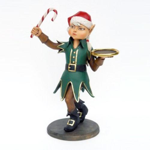 Elfe fille avec tenue candy cane nlc deco deco resine noel