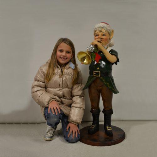 Statuette Lutin de noël musicien nlcdeco