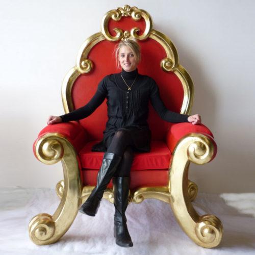 trône du père noël Rouge et or nlcdeco