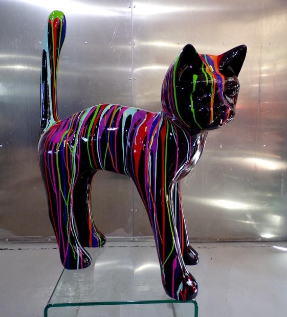 chat trash design m animaux et statues couleurs peintes en r sine. Black Bedroom Furniture Sets. Home Design Ideas