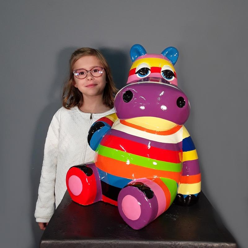 Hippopotame bandes de couleurs nlcdeco