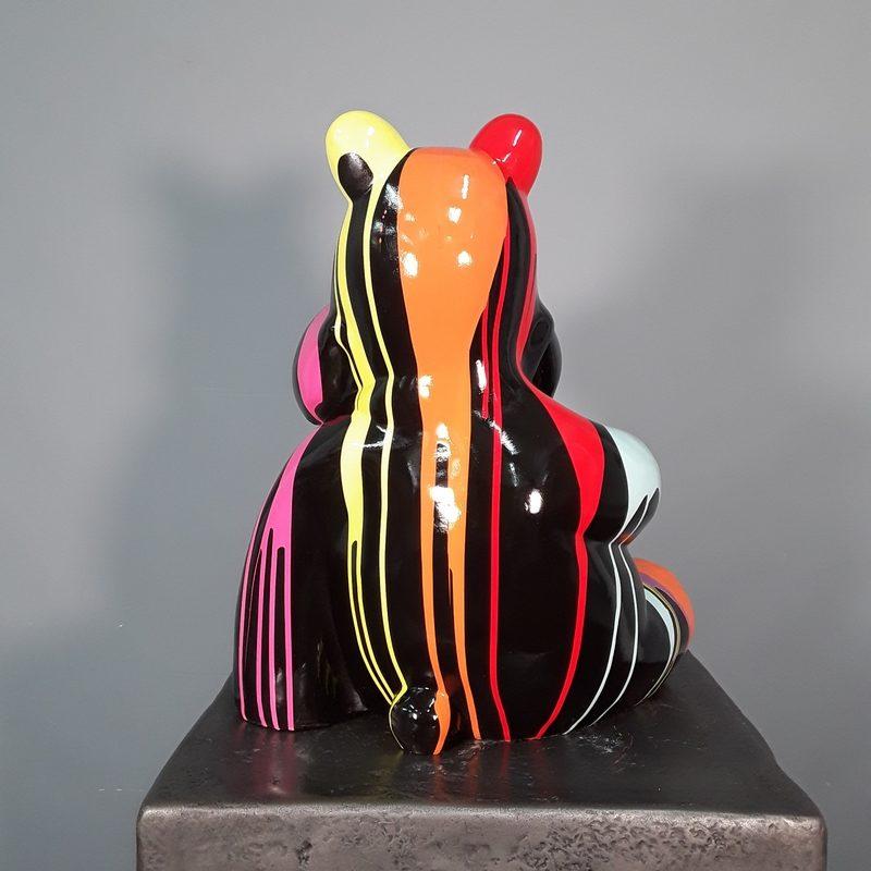 petit hippopotame noir coulées de peintures assis nlcdeco