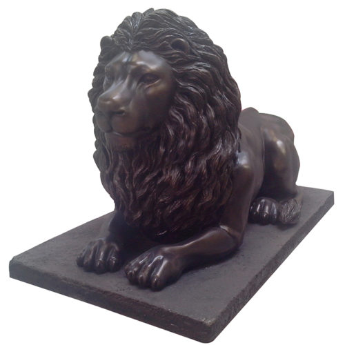 Lion noir allongé sur socle NLC DECO