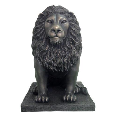 Lion noir assis sur socle NLC DECO