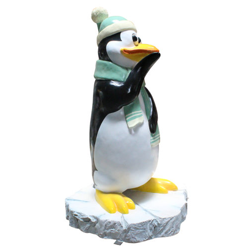 Pingouin penseur avec neige NLC DECO