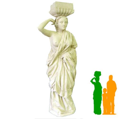 Statue femme bras droit levé