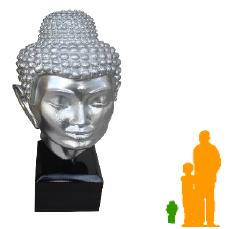 Tête de bouddha sur son socle aRGENT NLC DECO