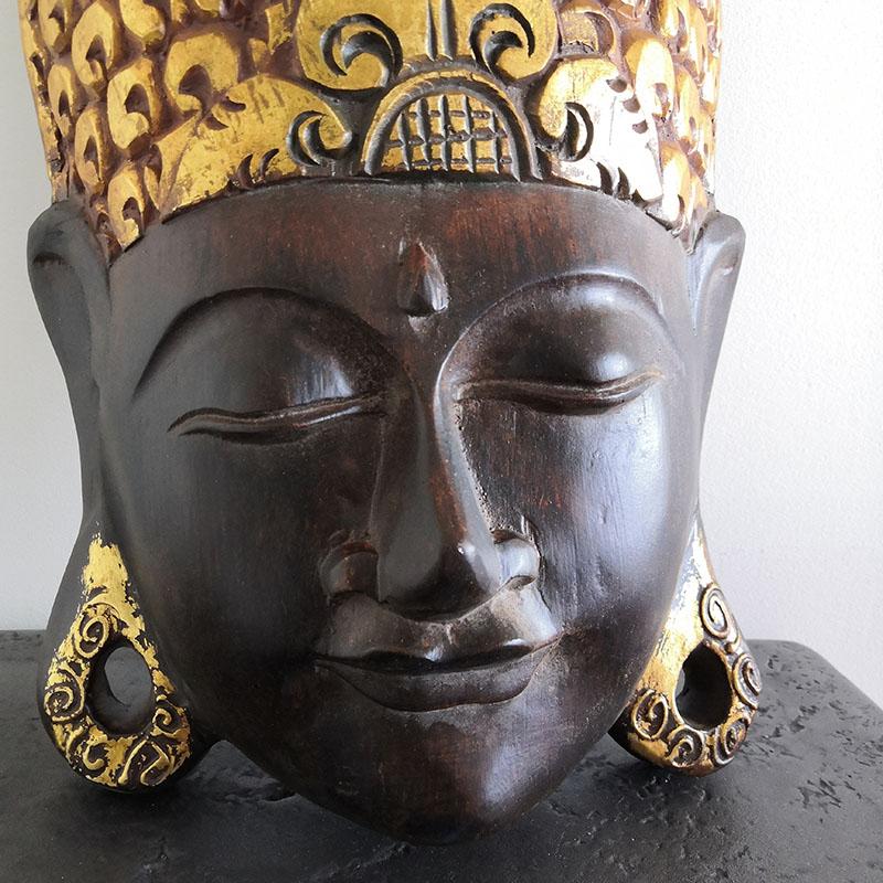 masque bouddha noir et doré nlcdeco decoration murale