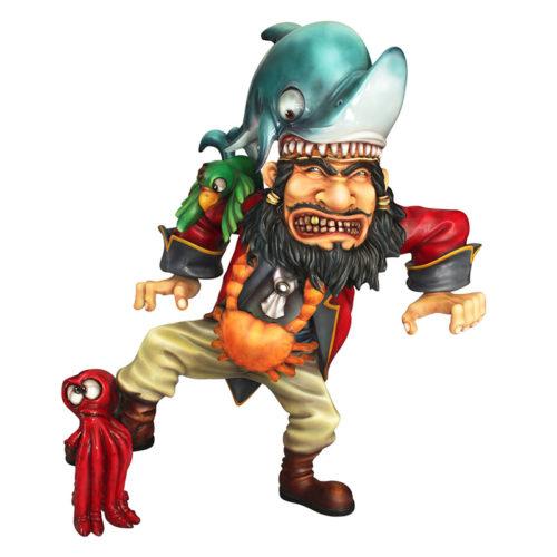 2505-6041-angry-pirate en colere requin pieuvre nlc deco déco personnage resine