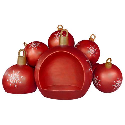 Christmas-ball-bench-red boule de neige chaise siege noel nlcdeco nlc décoration
