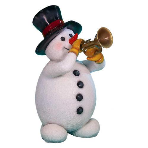 Snowman-with-trumpet bonhomme de neige avec une trompette noel nlc deco nlc décoration