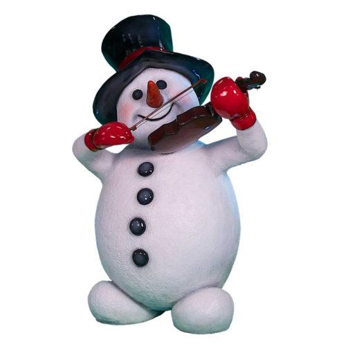 Snowman-with-violin bonhomme de neige noel violon nlc deco nlc décoration