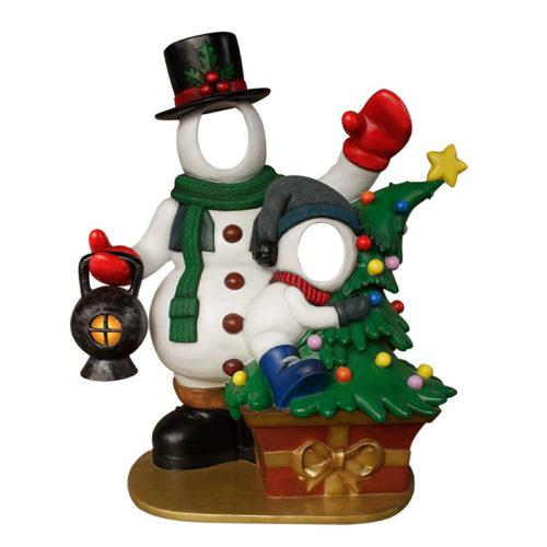 father-and-son-snowman pere et fils bonhomme de neige passe tete noel nlc deco déco