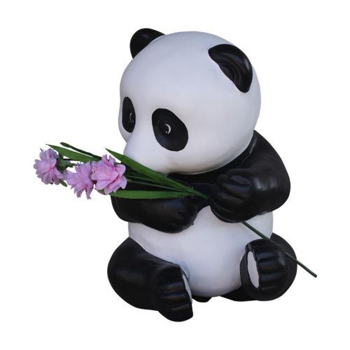 pand-with-flowers bebe panda asis avec une fleur nlc déco deco