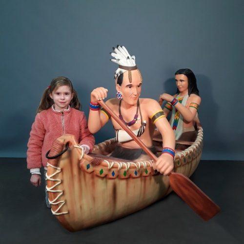 décor américain Indiens dans canoë nlcdeco