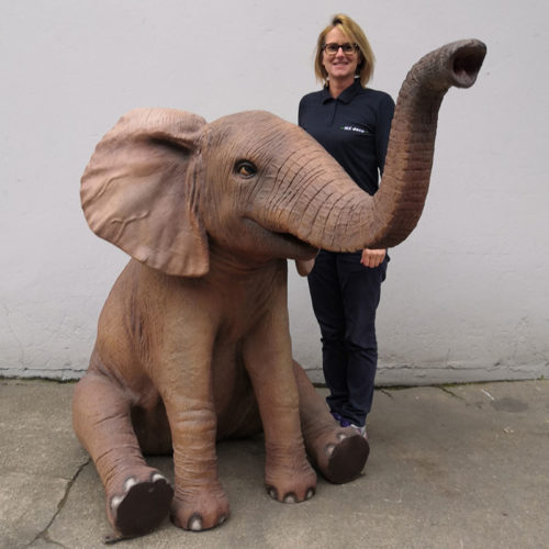 Éléphant assis nlcdeco animaux en resine decoration bébé safari zoo