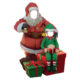 0111 bonhomme de neige avec elfe passe tete photo decoration en résine nlcdeco