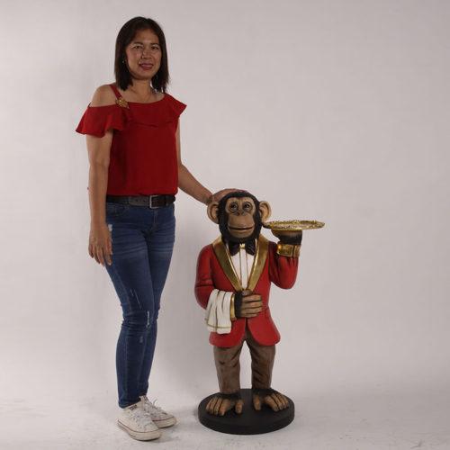 190039 singe serveur decor restaurant nlcdeco animaux personnage en resine